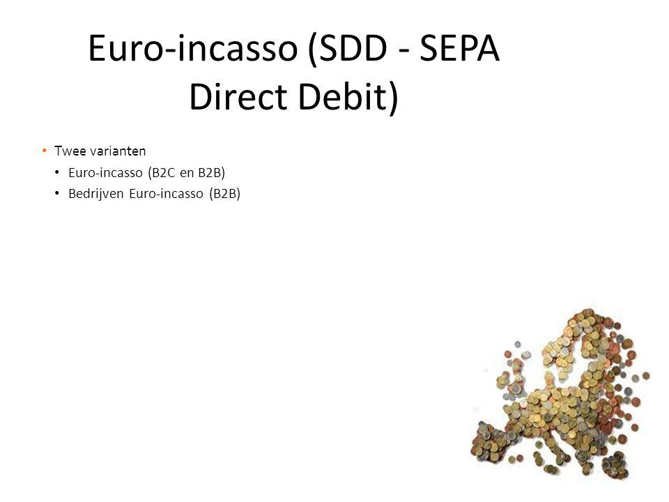 • Twee varianten • Euro-incasso (B2C en B2B) • Bedrijven Euro-incasso (B2B) Euro-incasso (SDD - SEPA Direct Debit)