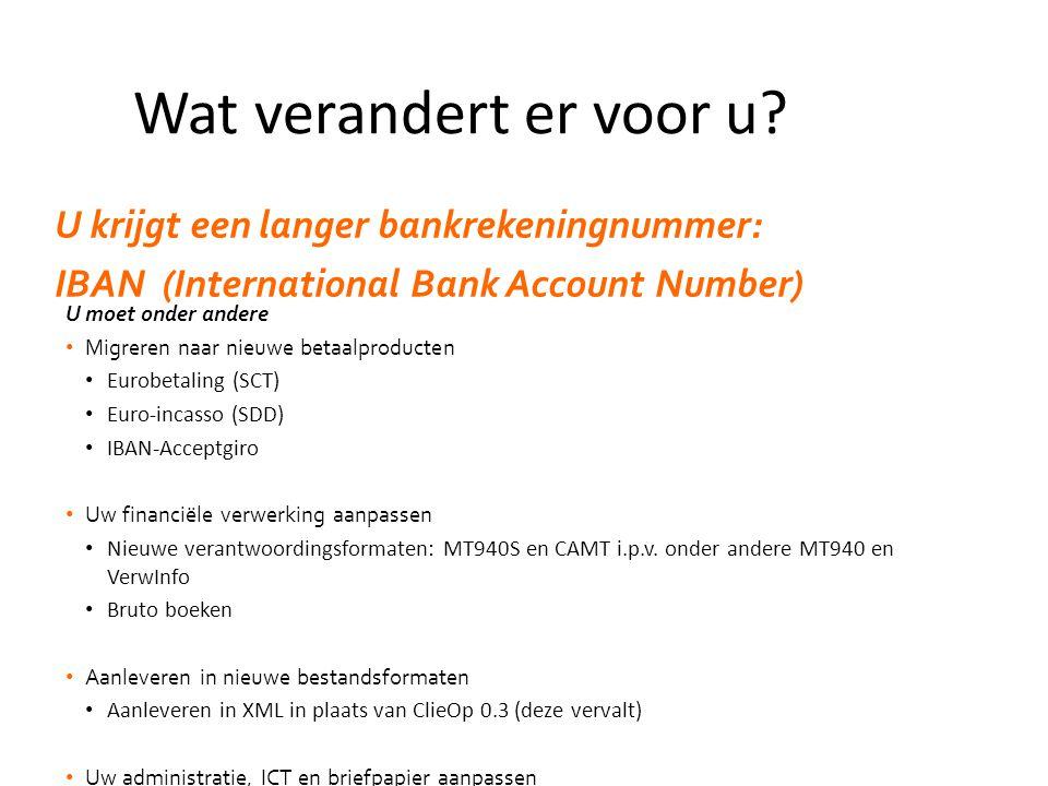 U moet onder andere • Migreren naar nieuwe betaalproducten • Eurobetaling (SCT) • Euro-incasso (SDD) • IBAN-Acceptgiro • Uw financiële verwerking aanpassen • Nieuwe verantwoordingsformaten: MT940S en CAMT i.p.v.