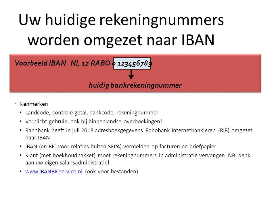 Voorbeeld IBAN NL 12 RABO 0 123456789 huidig bankrekeningnummer • Kenmerken • Landcode, controle getal, bankcode, rekeningnummer • Verplicht gebruik, ook bij binnenlandse overboekingen.