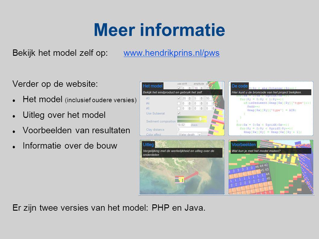 Meer informatie Bekijk het model zelf op:www.hendrikprins.nl/pws Verder op de website:  Het model (inclusief oudere versies)  Uitleg over het model