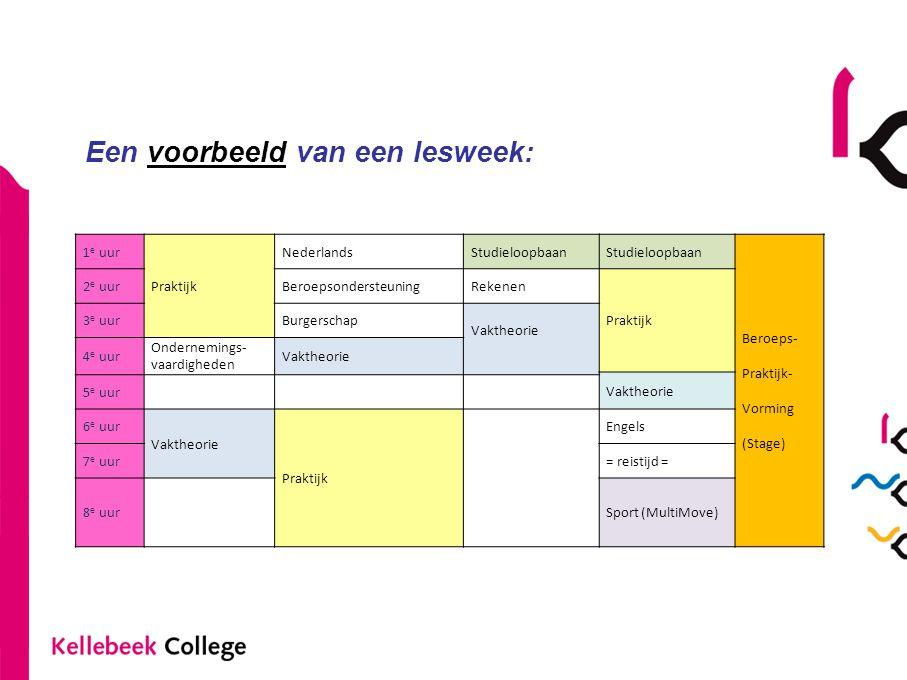 Een voorbeeld van een lesweek: 1 e uur Praktijk NederlandsStudieloopbaan Beroeps- Praktijk- Vorming (Stage) 2 e uurBeroepsondersteuningRekenen Praktij