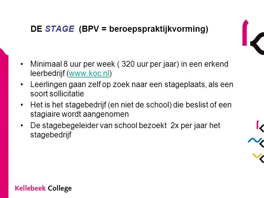 DE STAGE (BPV = beroepspraktijkvorming) •Minimaal 8 uur per week ( 320 uur per jaar) in een erkend leerbedrijf (www.koc.nl)www.koc.nl •Leerlingen gaan