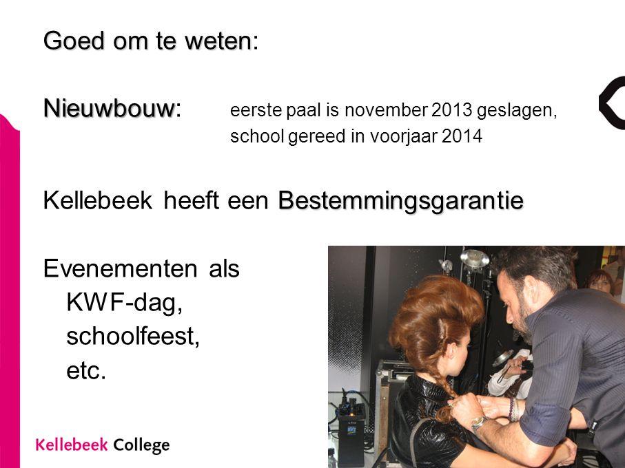 Goed om te weten Goed om te weten: Nieuwbouw Nieuwbouw: eerste paal is november 2013 geslagen, school gereed in voorjaar 2014 Bestemmingsgarantie Kell