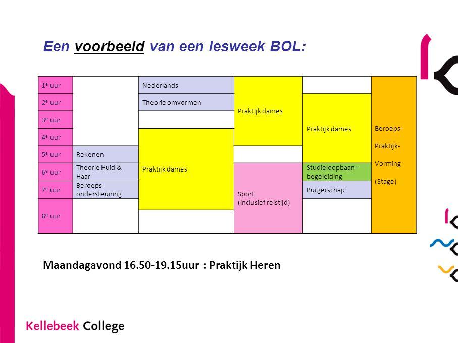 Een voorbeeld van een lesweek BOL: 1 e uurNederlands Praktijk dames Beroeps- Praktijk- Vorming (Stage) 2 e uurTheorie omvormen Praktijk dames 3 e uur