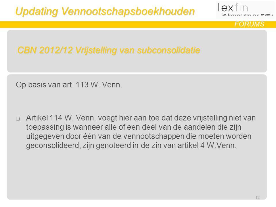 Updating Vennootschapsboekhouden FORUMS CBN 2012/12 Vrijstelling van subconsolidatie Op basis van art.