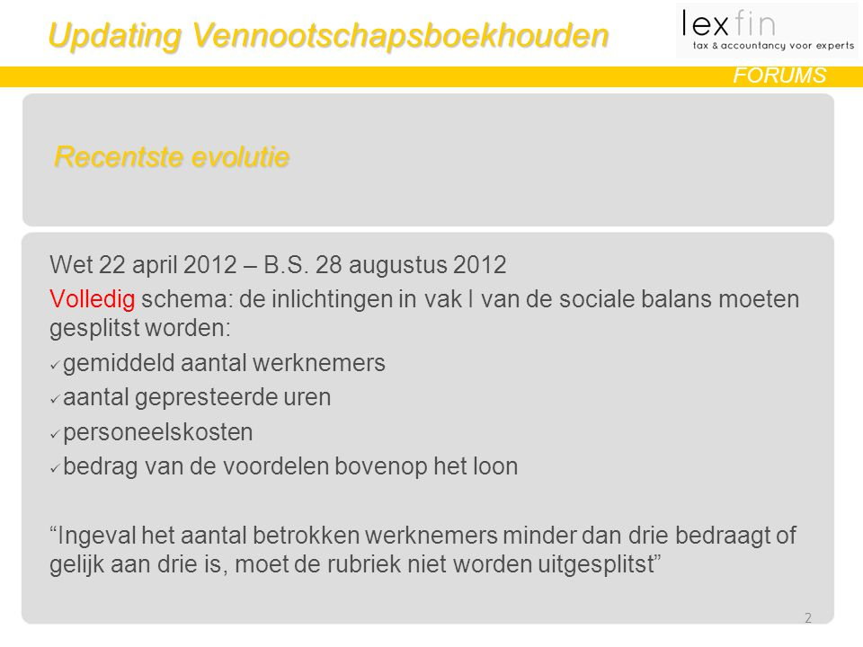 Updating Vennootschapsboekhouden FORUMS Recentste evolutie Wet 22 april 2012 – B.S. 28 augustus 2012 Volledig schema: de inlichtingen in vak I van de