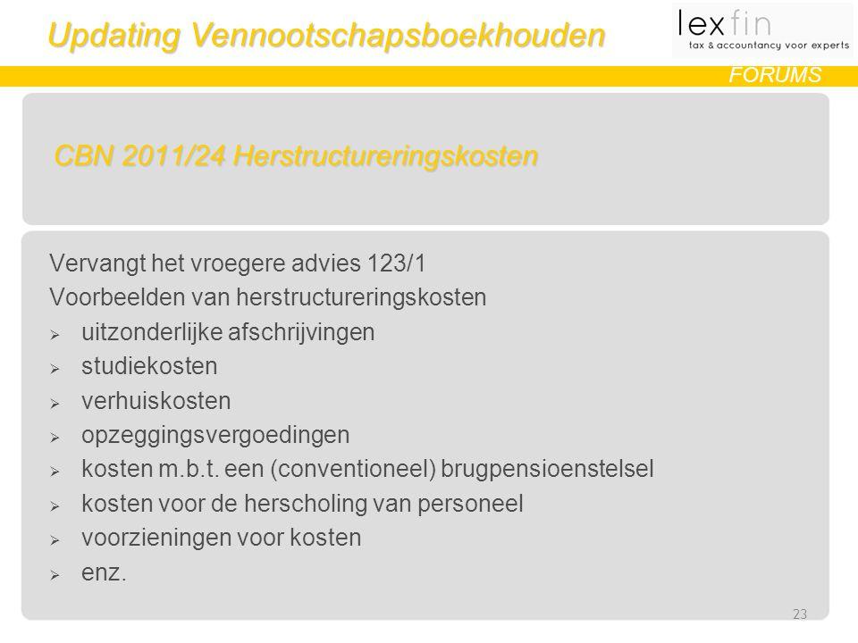Updating Vennootschapsboekhouden FORUMS CBN 2011/24 Herstructureringskosten Vervangt het vroegere advies 123/1 Voorbeelden van herstructureringskosten  uitzonderlijke afschrijvingen  studiekosten  verhuiskosten  opzeggingsvergoedingen  kosten m.b.t.