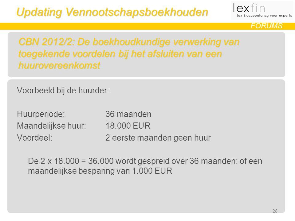 Updating Vennootschapsboekhouden FORUMS CBN 2012/2: De boekhoudkundige verwerking van toegekende voordelen bij het afsluiten van een huurovereenkomst Voorbeeld bij de huurder: Huurperiode: 36 maanden Maandelijkse huur: 18.000 EUR Voordeel: 2 eerste maanden geen huur De 2 x 18.000 = 36.000 wordt gespreid over 36 maanden: of een maandelijkse besparing van 1.000 EUR 28