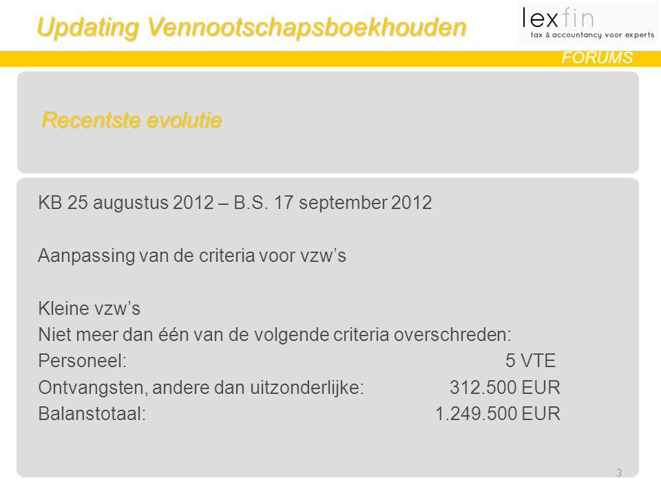 Updating Vennootschapsboekhouden FORUMS Recentste evolutie KB 25 augustus 2012 – B.S.