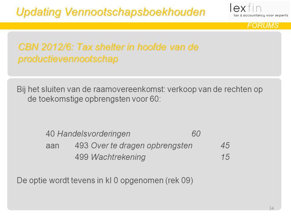 Updating Vennootschapsboekhouden FORUMS CBN 2012/6: Tax shelter in hoofde van de productievennootschap Bij het sluiten van de raamovereenkomst: verkoop van de rechten op de toekomstige opbrengsten voor 60: 40 Handelsvorderingen 60 aan 493 Over te dragen opbrengsten45 499 Wachtrekening 15 De optie wordt tevens in kl 0 opgenomen (rek 09) 34