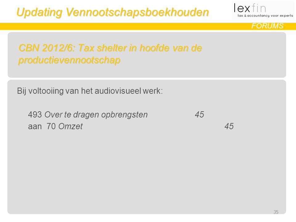 Updating Vennootschapsboekhouden FORUMS CBN 2012/6: Tax shelter in hoofde van de productievennootschap Bij voltooiing van het audiovisueel werk: 493 Over te dragen opbrengsten45 aan70 Omzet45 35