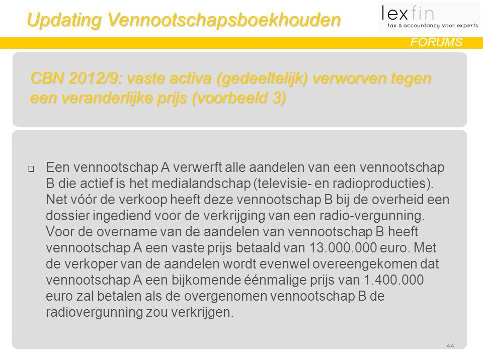 Updating Vennootschapsboekhouden FORUMS CBN 2012/9: vaste activa (gedeeltelijk) verworven tegen een veranderlijke prijs (voorbeeld 3)  Een vennootschap A verwerft alle aandelen van een vennootschap B die actief is het medialandschap (televisie- en radioproducties).