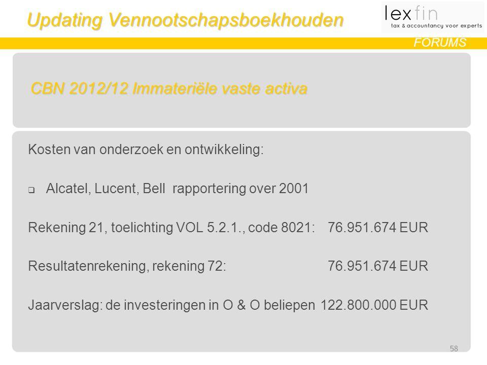 Updating Vennootschapsboekhouden FORUMS CBN 2012/12 Immateriële vaste activa Kosten van onderzoek en ontwikkeling:  Alcatel, Lucent, Bell rapportering over 2001 Rekening 21, toelichting VOL 5.2.1., code 8021: 76.951.674 EUR Resultatenrekening, rekening 72: 76.951.674 EUR Jaarverslag: de investeringen in O & O beliepen 122.800.000 EUR 58