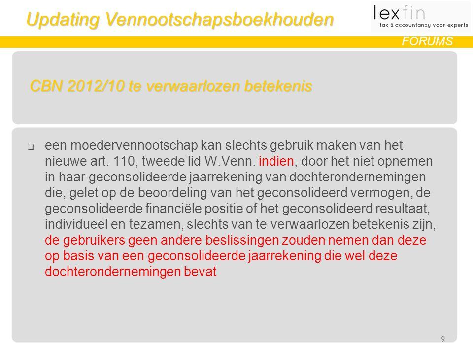 Updating Vennootschapsboekhouden FORUMS CBN 2012/10 te verwaarlozen betekenis  een moedervennootschap kan slechts gebruik maken van het nieuwe art.