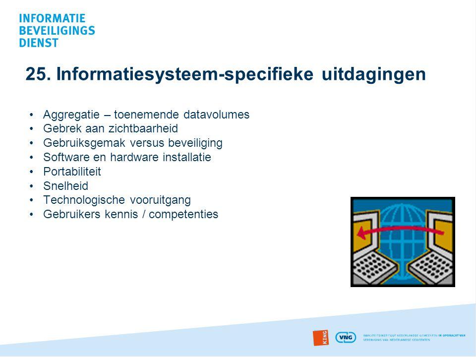 25. Informatiesysteem-specifieke uitdagingen •Aggregatie – toenemende datavolumes •Gebrek aan zichtbaarheid •Gebruiksgemak versus beveiliging •Softwar
