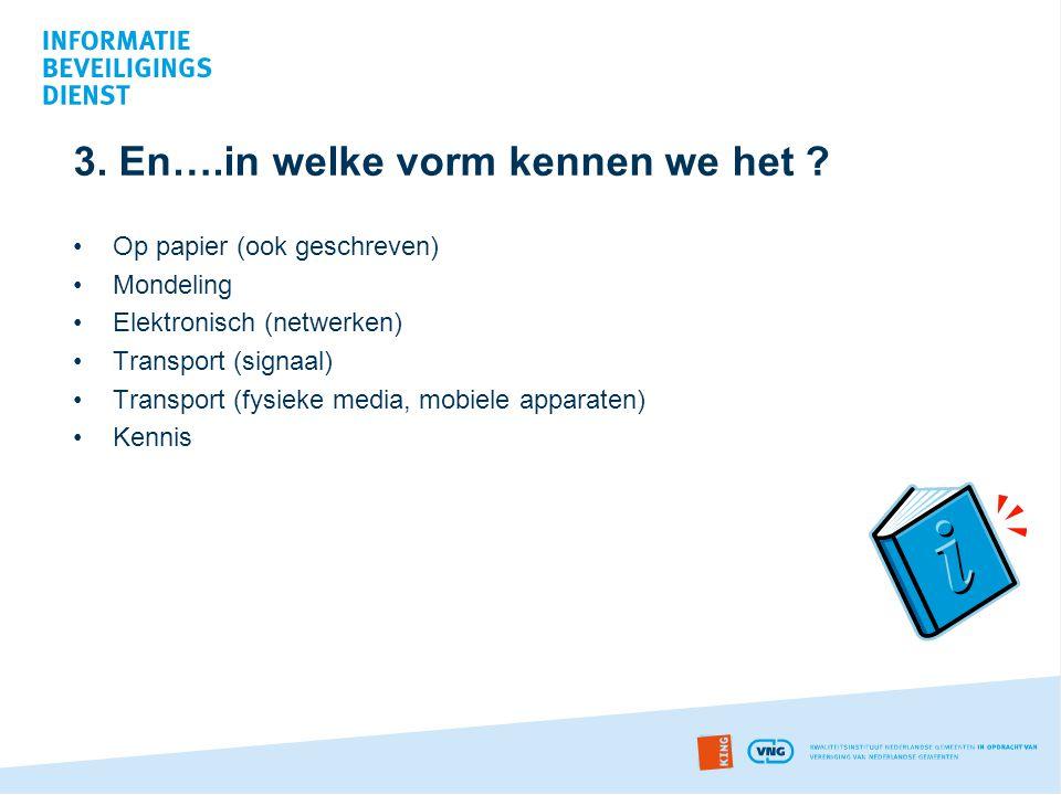 3. En….in welke vorm kennen we het ? •Op papier (ook geschreven) •Mondeling •Elektronisch (netwerken) •Transport (signaal) •Transport (fysieke media,