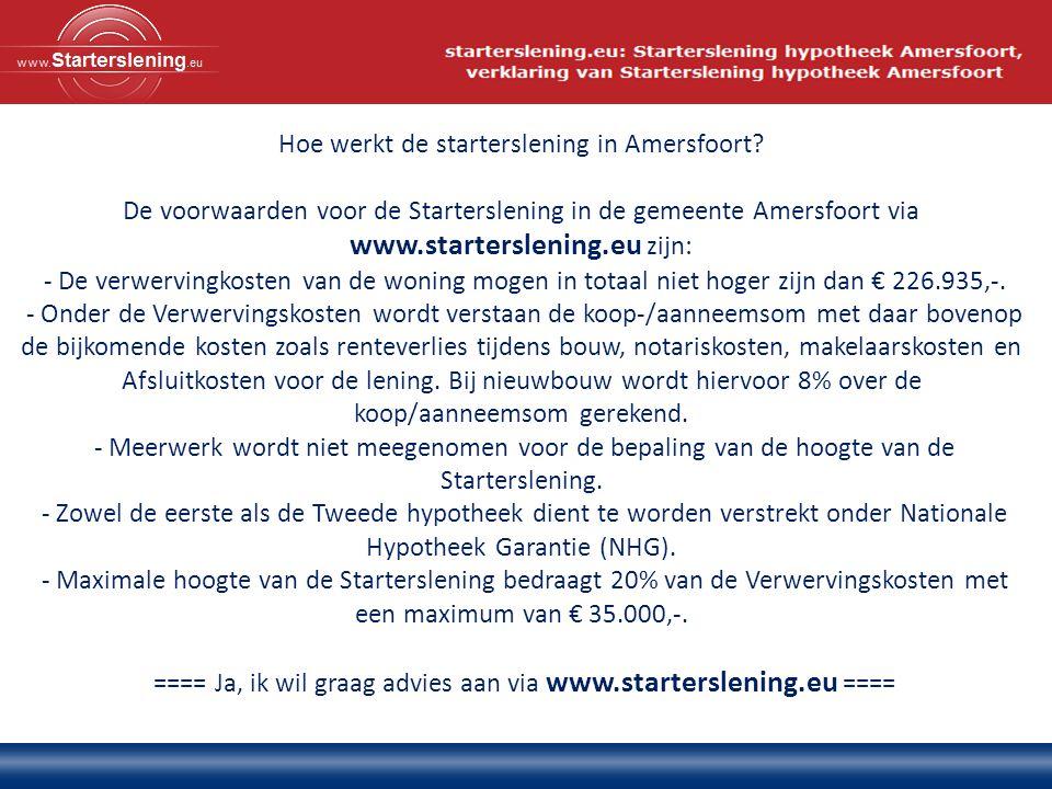 Hoe werkt de starterslening in Amersfoort.