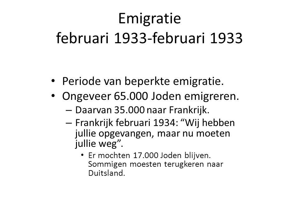 Emigratie februari 1933-februari 1933 • Periode van beperkte emigratie. • Ongeveer 65.000 Joden emigreren. – Daarvan 35.000 naar Frankrijk. – Frankrij