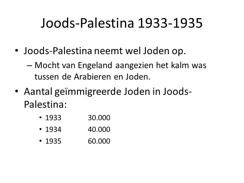 Joods-Palestina 1933-1935 • Joods-Palestina neemt wel Joden op. – Mocht van Engeland aangezien het kalm was tussen de Arabieren en Joden. • Aantal geï