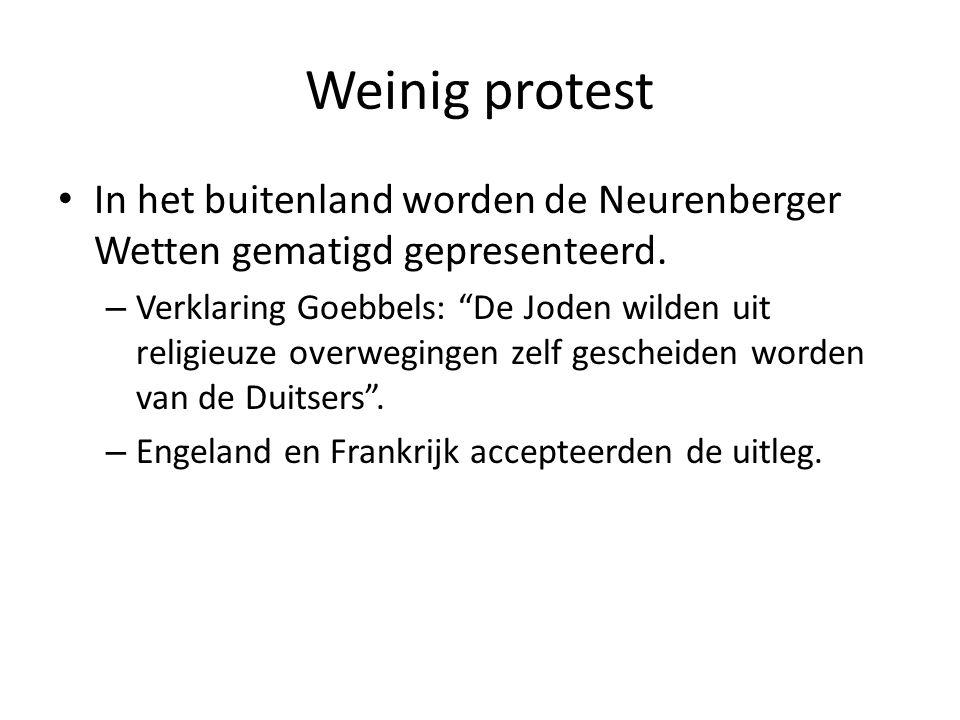 """Weinig protest • In het buitenland worden de Neurenberger Wetten gematigd gepresenteerd. – Verklaring Goebbels: """"De Joden wilden uit religieuze overwe"""