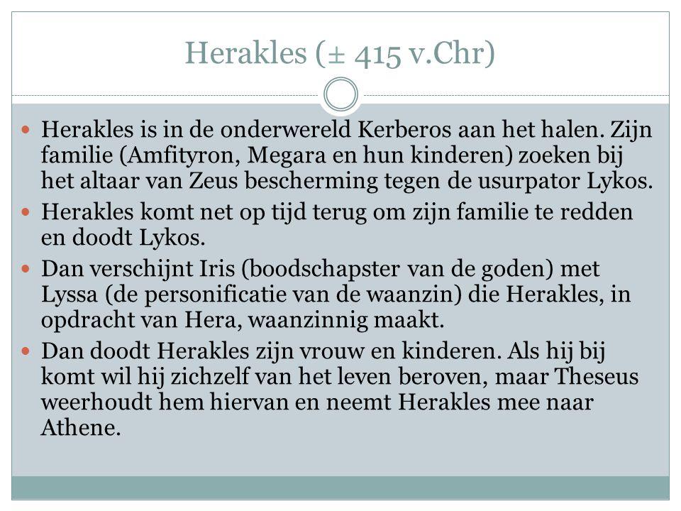 Herakles (± 415 v.Chr)  Herakles is in de onderwereld Kerberos aan het halen.