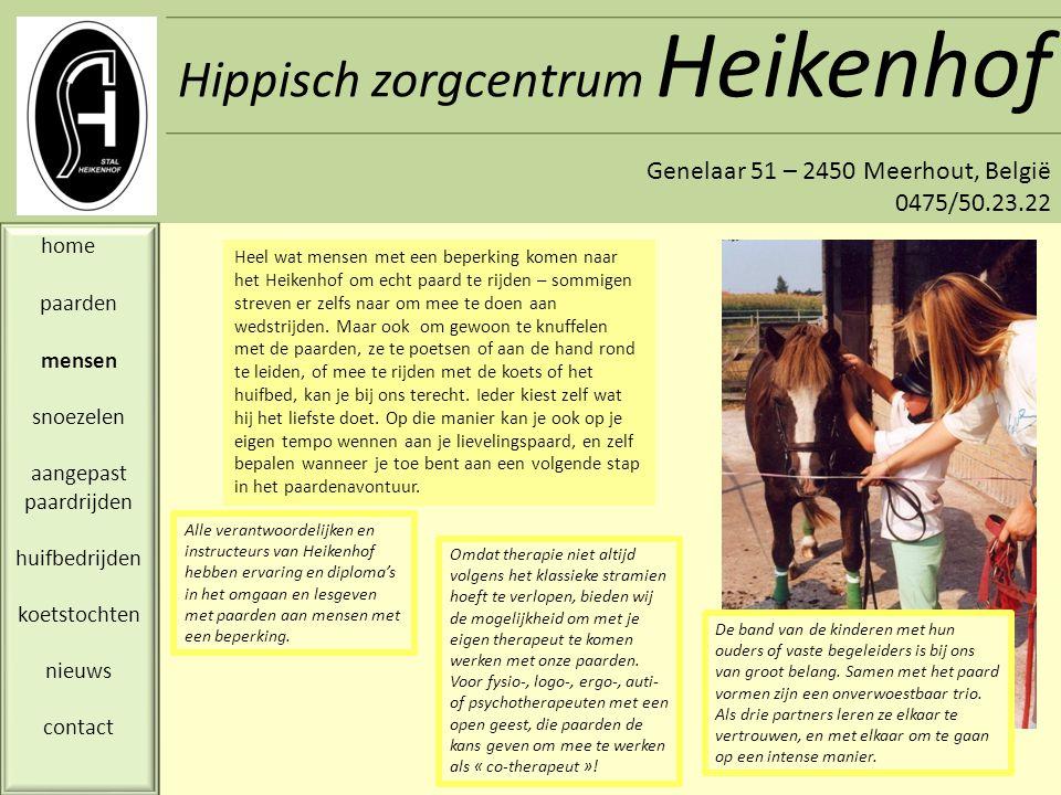 Hippisch zorgcentrum Heikenhof Genelaar 51 – 2450 Meerhout, België 0475/50.23.22 home paarden mensen snoezelen aangepast paardrijden huifbedrijden koetstochten nieuws contact Snoezelen is een bekende term voor mensen met een beperking.