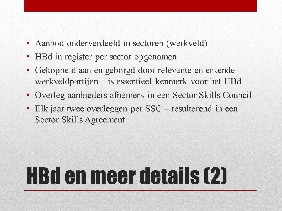 HBd en meer details (2) • Aanbod onderverdeeld in sectoren (werkveld) • HBd in register per sector opgenomen • Gekoppeld aan en geborgd door relevante en erkende werkveldpartijen – is essentieel kenmerk voor het HBd • Overleg aanbieders-afnemers in een Sector Skills Council • Elk jaar twee overleggen per SSC – resulterend in een Sector Skills Agreement
