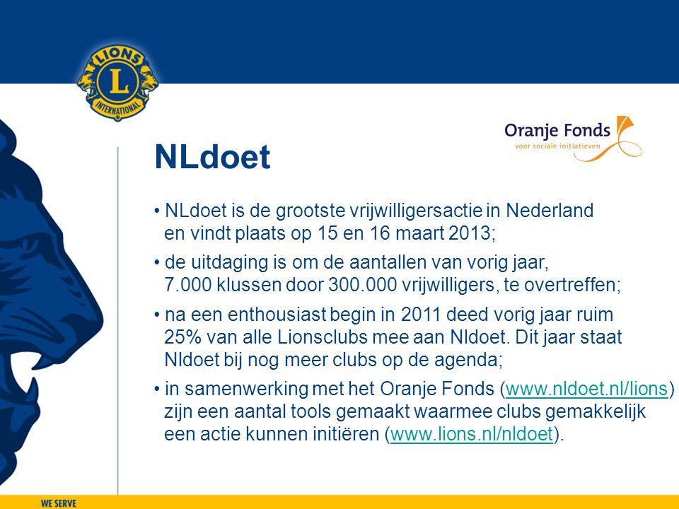NLdoet • NLdoet is de grootste vrijwilligersactie in Nederland en vindt plaats op 15 en 16 maart 2013; • de uitdaging is om de aantallen van vorig jaa