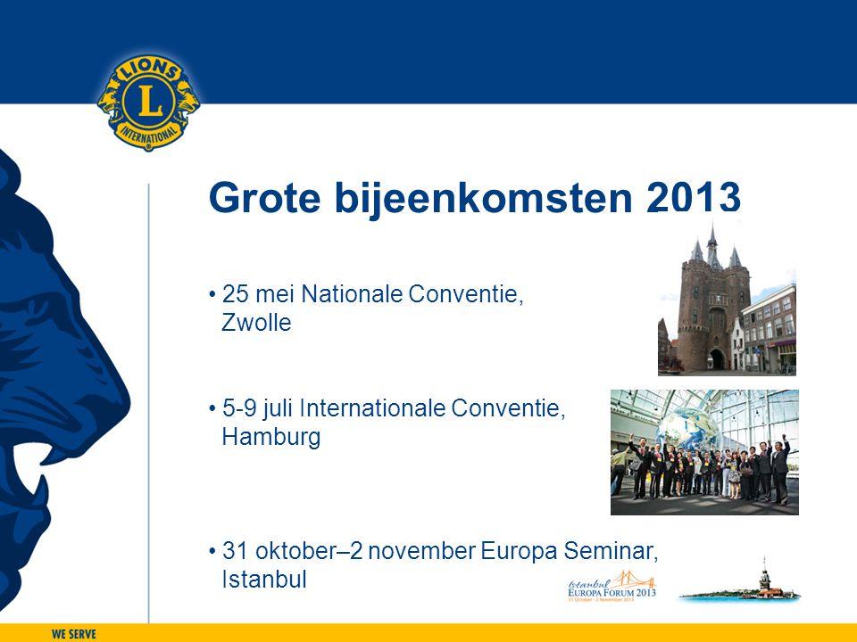 Grote bijeenkomsten 2013 • 25 mei Nationale Conventie, Zwolle • 5-9 juli Internationale Conventie, Hamburg • 31 oktober–2 november Europa Seminar, Ist