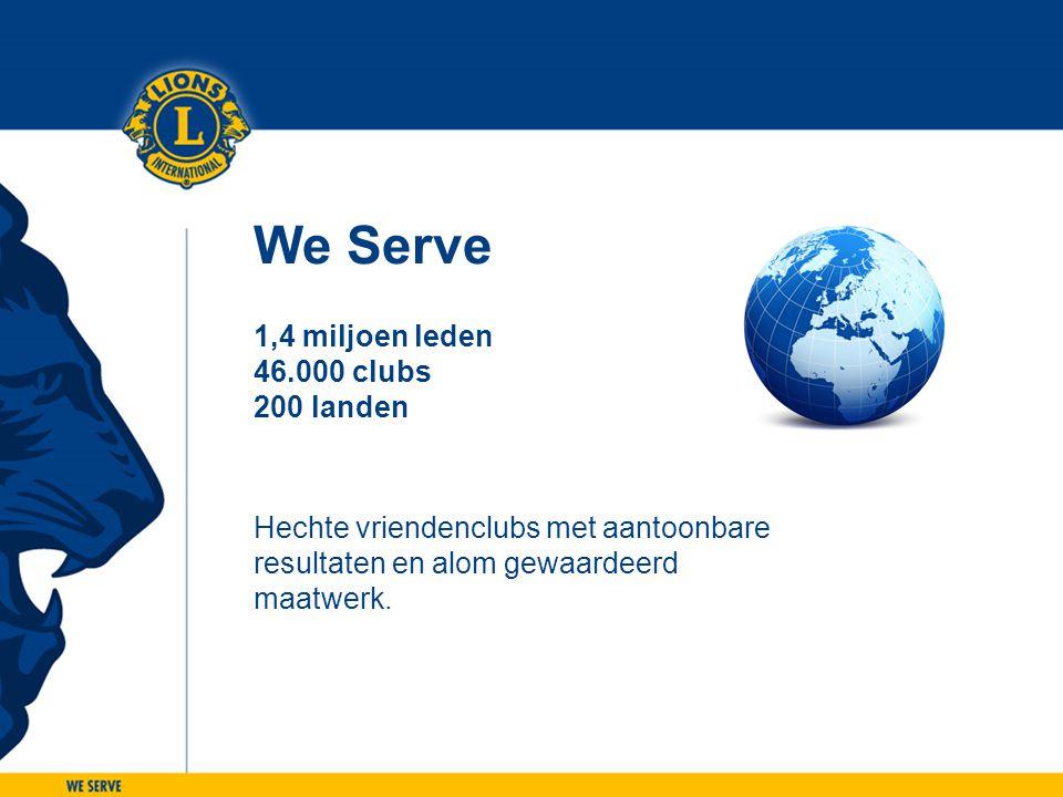 We Serve 1,4 miljoen leden 46.000 clubs 200 landen Hechte vriendenclubs met aantoonbare resultaten en alom gewaardeerd maatwerk.