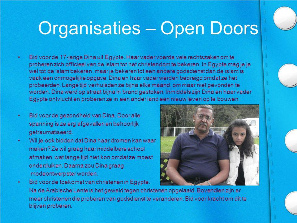 Organisaties – Open Doors •Bid voor de 17-jarige Dina uit Egypte.