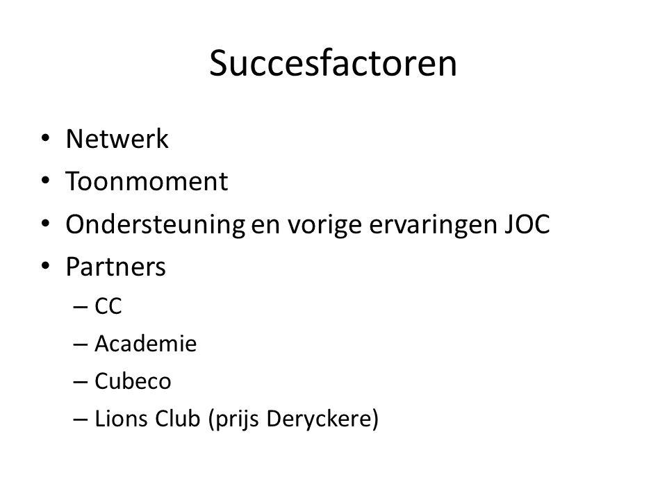 Succesfactoren • Netwerk • Toonmoment • Ondersteuning en vorige ervaringen JOC • Partners – CC – Academie – Cubeco – Lions Club (prijs Deryckere)