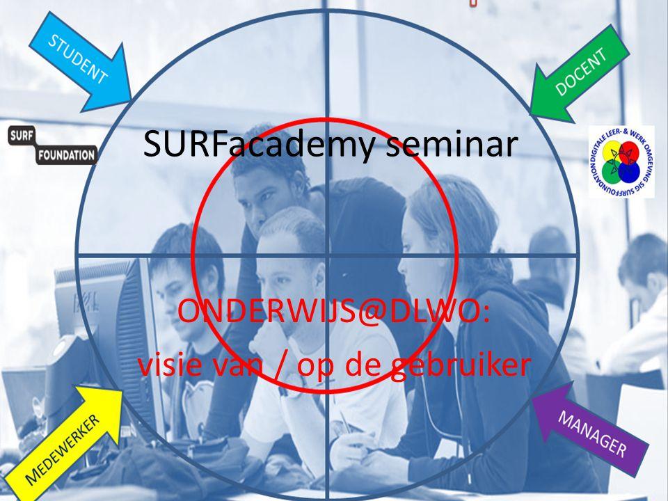 SURFacademy seminar ONDERWIJS@DLWO: visie van / op de gebruiker