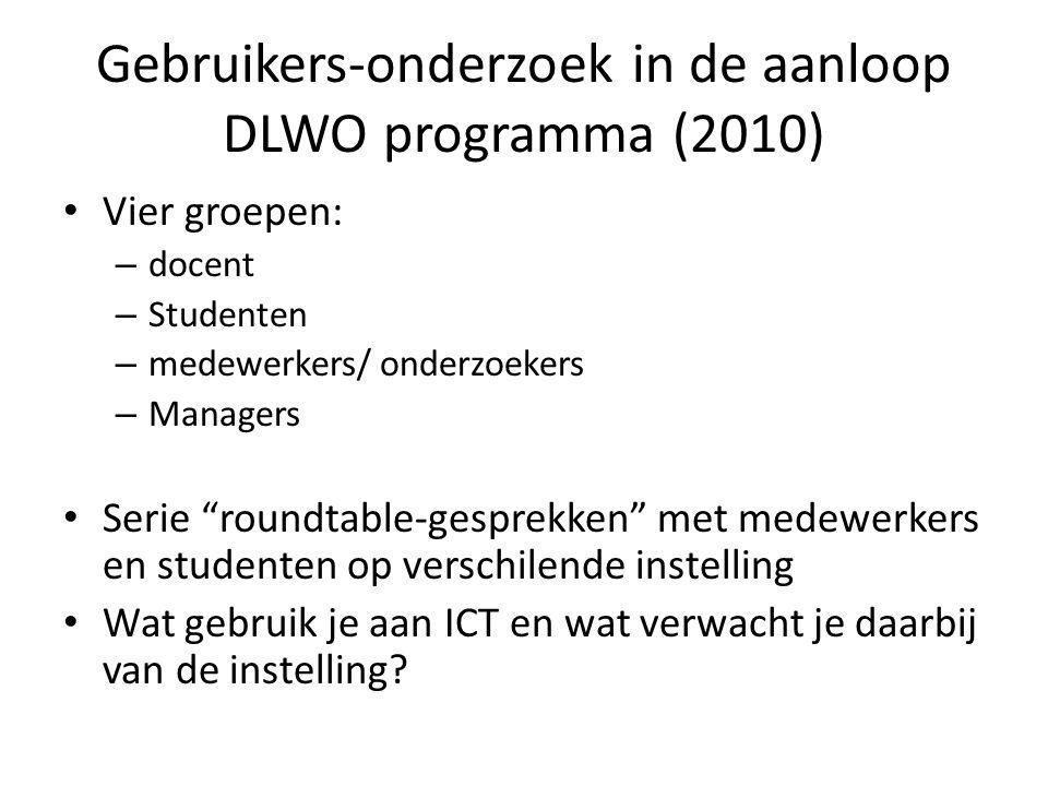 """Gebruikers-onderzoek in de aanloop DLWO programma (2010) • Vier groepen: – docent – Studenten – medewerkers/ onderzoekers – Managers • Serie """"roundtab"""