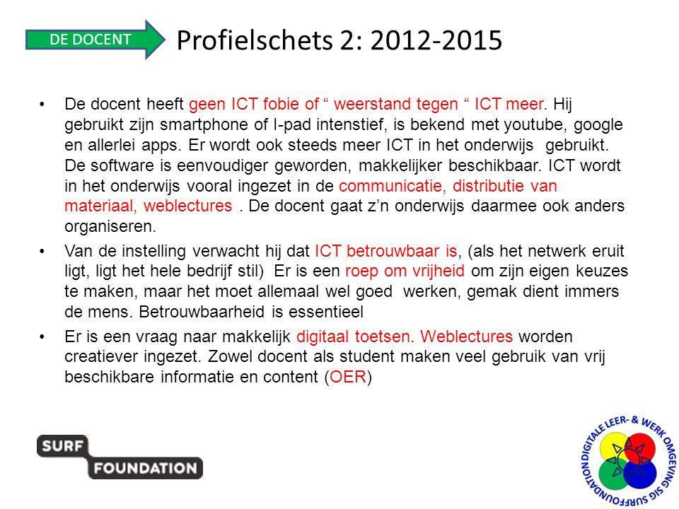 """Profielschets 2: 2012-2015 •De docent heeft geen ICT fobie of """" weerstand tegen """" ICT meer. Hij gebruikt zijn smartphone of I-pad intenstief, is beken"""