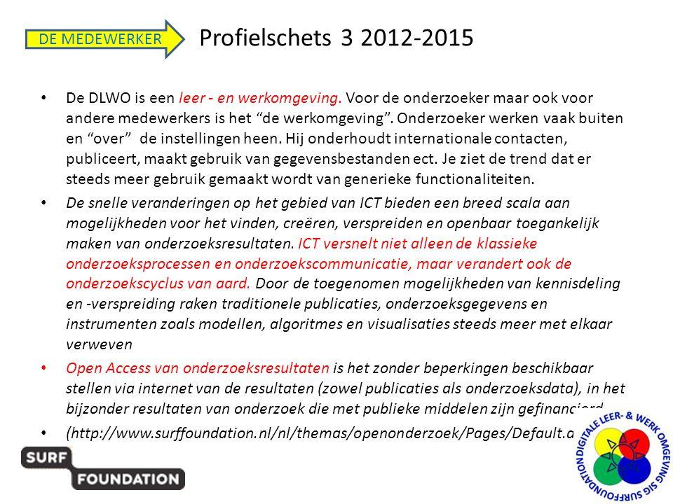 """Profielschets 3 2012-2015 • De DLWO is een leer - en werkomgeving. Voor de onderzoeker maar ook voor andere medewerkers is het """"de werkomgeving"""". Onde"""