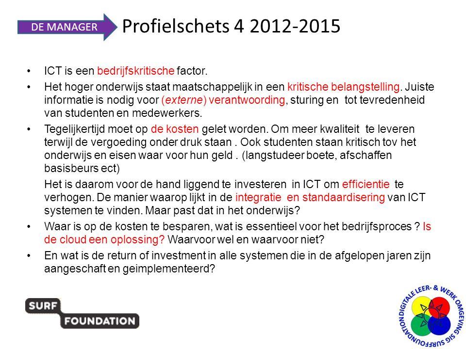 Profielschets 4 2012-2015 •ICT is een bedrijfskritische factor. •Het hoger onderwijs staat maatschappelijk in een kritische belangstelling. Juiste inf