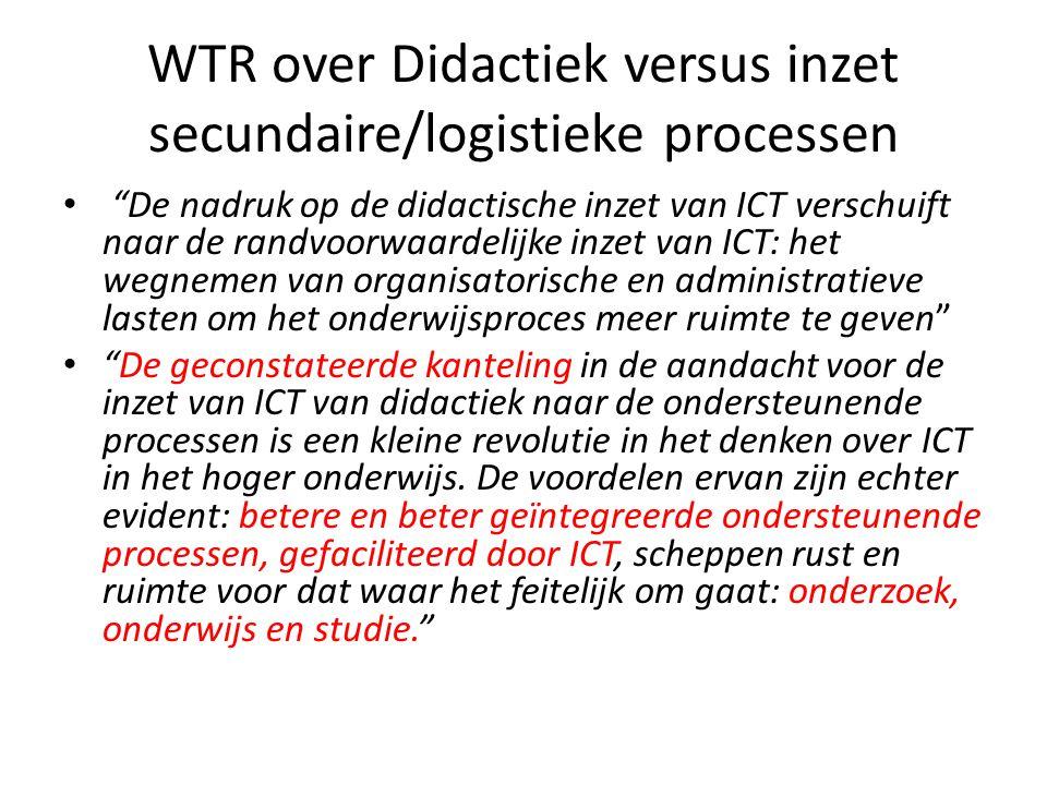 """WTR over Didactiek versus inzet secundaire/logistieke processen • """"De nadruk op de didactische inzet van ICT verschuift naar de randvoorwaardelijke in"""