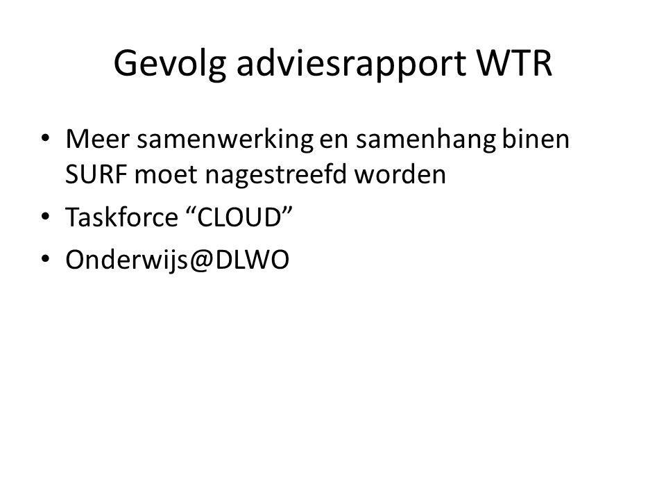 """Gevolg adviesrapport WTR • Meer samenwerking en samenhang binen SURF moet nagestreefd worden • Taskforce """"CLOUD"""" • Onderwijs@DLWO"""
