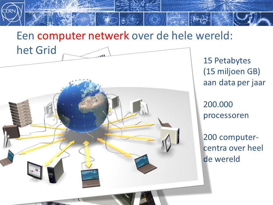 Een computer netwerk over de hele wereld: het Grid 15 Petabytes (15 miljoen GB) aan data per jaar 200.000 processoren 200 computer- centra over heel d