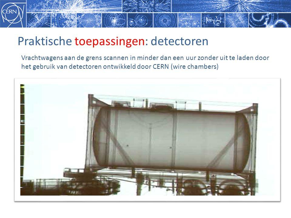 Praktische toepassingen: detectoren Vrachtwagens aan de grens scannen in minder dan een uur zonder uit te laden door het gebruik van detectoren ontwikkeld door CERN (wire chambers)