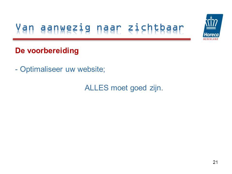 De voorbereiding - Optimaliseer uw website; ALLES moet goed zijn. 21