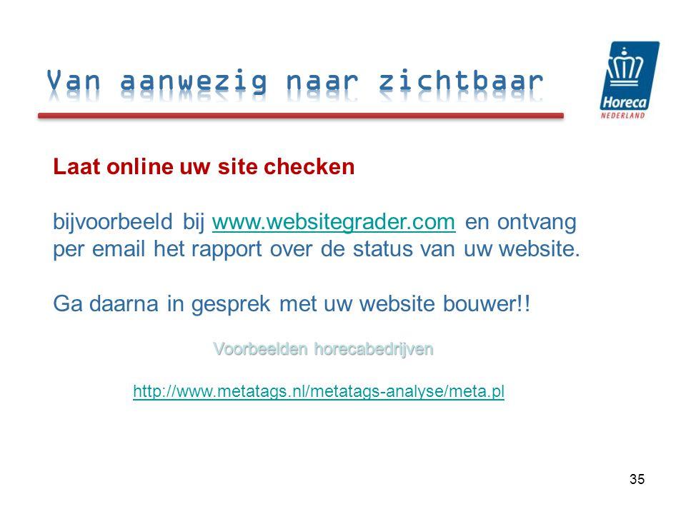 Laat online uw site checken bijvoorbeeld bij www.websitegrader.com en ontvang per email het rapport over de status van uw website.www.websitegrader.com Ga daarna in gesprek met uw website bouwer!.