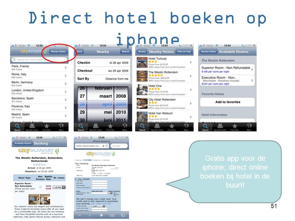 Direct hotel boeken op iphone Gratis app voor de iphone; direct online boeken bij hotel in de buurt.
