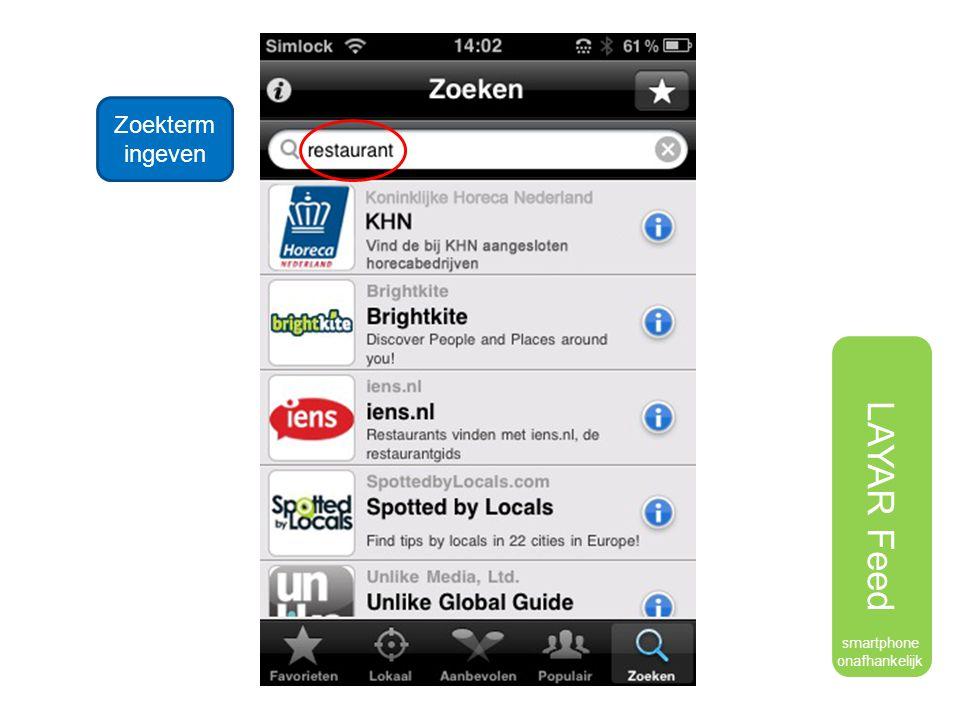 LAYAR Feed Zoekterm ingeven smartphone onafhankelijk