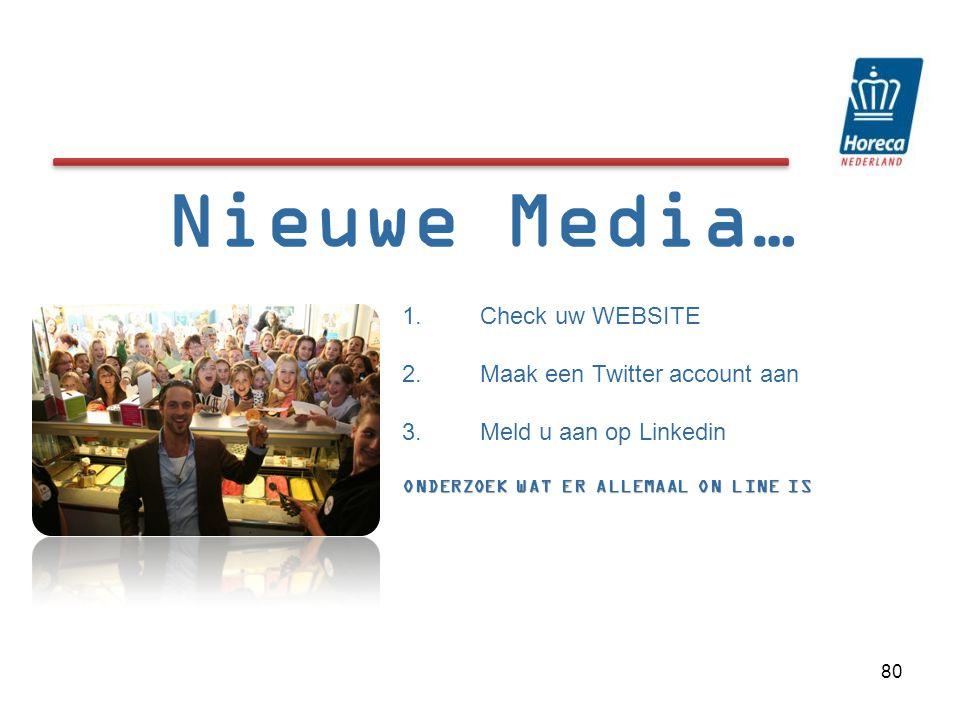 Nieuwe Media… 1.Check uw WEBSITE 2.Maak een Twitter account aan 3.Meld u aan op Linkedin ONDERZOEK WAT ER ALLEMAAL ON LINE IS 80