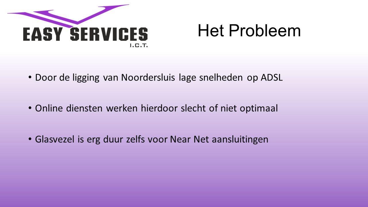 Het Probleem • Door de ligging van Noordersluis lage snelheden op ADSL • Online diensten werken hierdoor slecht of niet optimaal • Glasvezel is erg duur zelfs voor Near Net aansluitingen