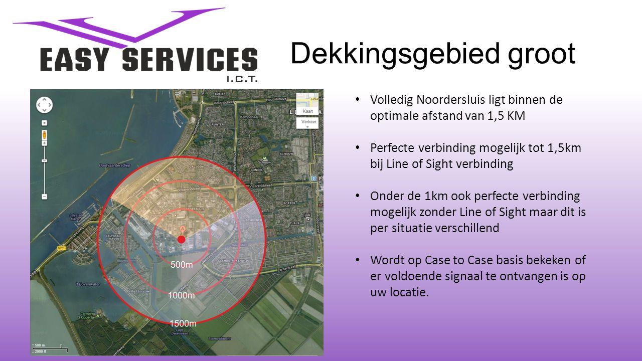 Dekkingsgebied groot • Volledig Noordersluis ligt binnen de optimale afstand van 1,5 KM • Perfecte verbinding mogelijk tot 1,5km bij Line of Sight ver