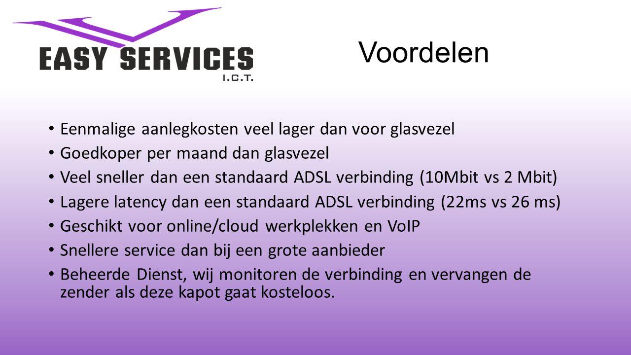 Voordelen • Eenmalige aanlegkosten veel lager dan voor glasvezel • Goedkoper per maand dan glasvezel • Veel sneller dan een standaard ADSL verbinding