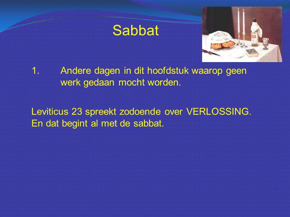 Sabbat 1.Andere dagen in dit hoofdstuk waarop geen werk gedaan mocht worden. Leviticus 23 spreekt zodoende over VERLOSSING. En dat begint al met de sa